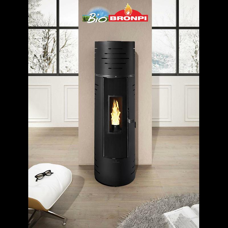 Calor estufa de pellet 7kw redonda color negro mod elsa - Estufa de calor ...