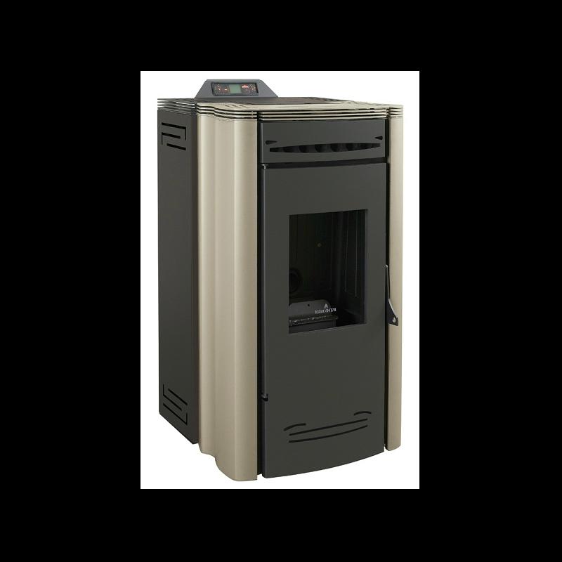 Calor estufa de pellet 16kw canalizable color dorado y for Estufas de pellets con salida de humos lateral